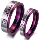 TITANIUM RING Cincin Couple Size 7(F) & 8(M) [GS248] - Silver and purple & Purple - Cincin